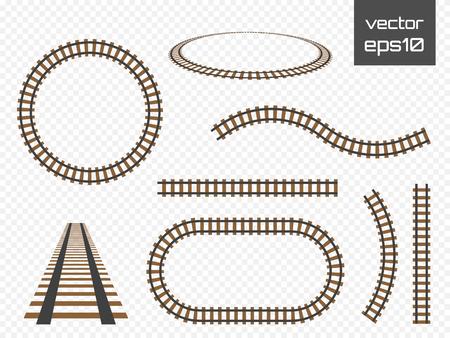 Ilustración de Vector rails set. Railways on white background. Railroad tracks. - Imagen libre de derechos