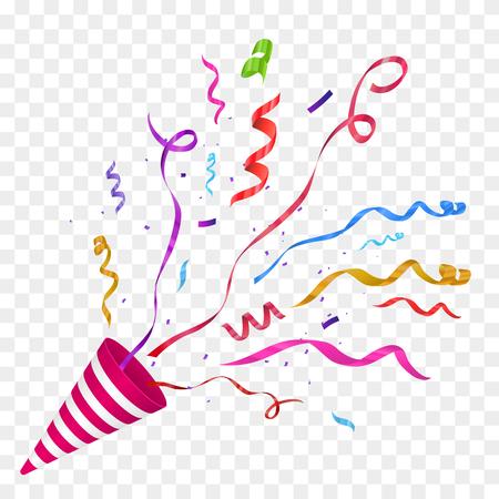 Ilustración de Vector confetti illustration. Festive illustration. Party popper isolated on checkered background. - Imagen libre de derechos