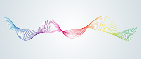 Photo pour Abstract smooth curved lines Design element Technological background with a line in the form of a wave Stylization of a digital equalizer Smooth flowing wavy stripes of a rainbow made by blends Vector - image libre de droit