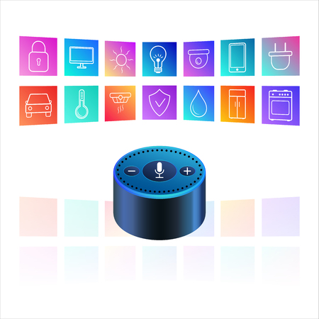 Ilustración de Smart speaker for smart home control with icons. Iot Voice control gadget of your house. Intelligent voice activated assistant. Isolated object vector - Imagen libre de derechos