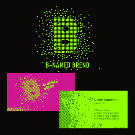 Photo pour Template B brand name -Company. Corporate identity for the company on the letter B: logo, business card. Creative logo of pixels consists of particles letter B - image libre de droit