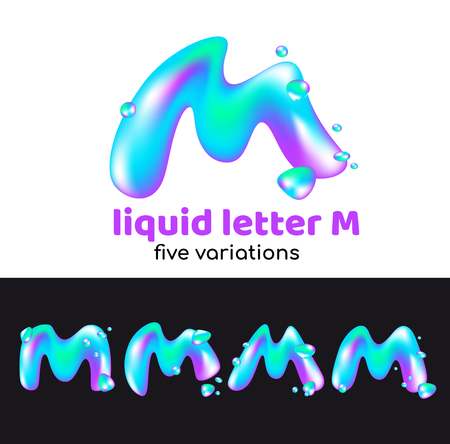 Illustration pour M letter as an aqua logo. Liquid volumetric letter with droplets and sprays for the corporate style of the company or brand on the letter M. Juicy, watery, holographic style. - image libre de droit