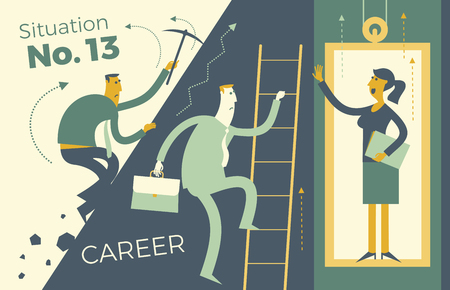 Ilustración de Business infographics, business situations. Career ladder, service elevator, workers strive upward, achievement goal, career, professional growth. The way up through the ranks. Business people. Vector illustration of flat design. Template for your presentation, web site. - Imagen libre de derechos