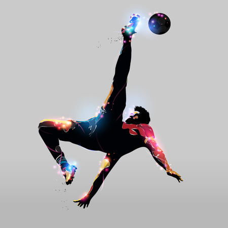 abstract colorful silhouette soccer player over head kick
