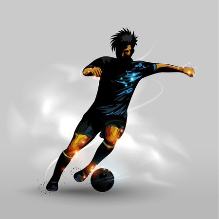 Abstract silhouettes soccer player dribbling soccer ball