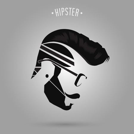 Ilustración de hipster man hair style design on gray background - Imagen libre de derechos