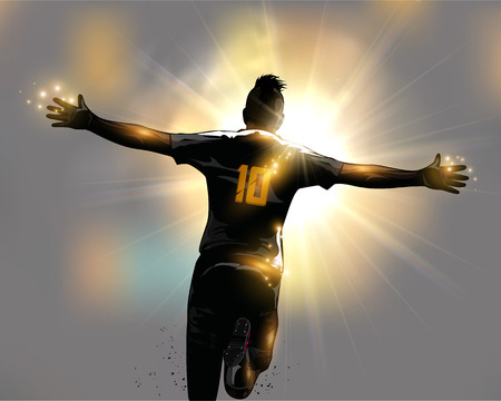 Illustration pour Abstract soccer player celebrates goal by running - image libre de droit