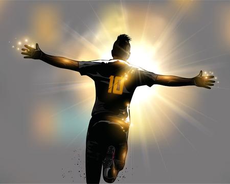 Ilustración de Abstract soccer player celebrates goal by running - Imagen libre de derechos