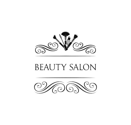 Illustration pour Beauty Salon Badge. Makeup Brushes. Make Up Artist badge Vector Illustration - image libre de droit