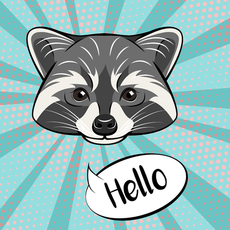 Ilustración de Cute raccoon character showing greeting gesture, saying hello, cartoon illustration isolated on color background. - Imagen libre de derechos