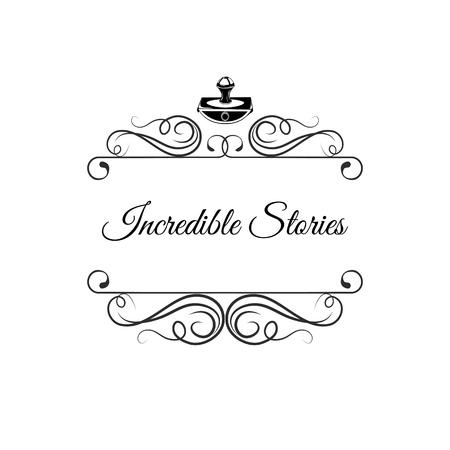 Ilustración de Writer logo with swirls. Writer badge. Incredible stories. Vector illustration isolated on white background - Imagen libre de derechos