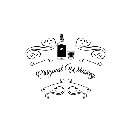 Illustration pour Whiskey retro emblem. Filigree swirls divider and scroll elements. Vector illustration isolated on white background - image libre de droit