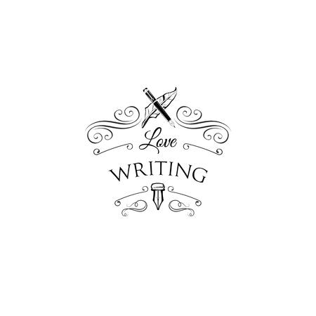 Illustration pour Writer logo with swirls and ornate frames. Feather, elegant vintage pen. Vector illustration. - image libre de droit