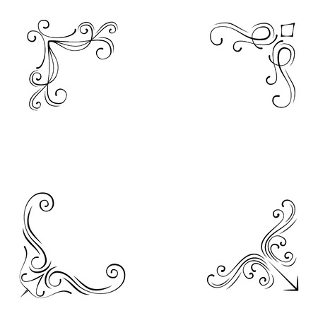 Illustration for Set of Vintage Style Design Elements Corners and Borders  isolated on white background. - Royalty Free Image