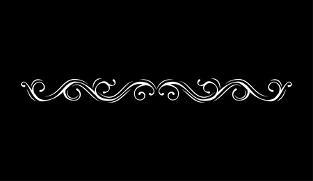 Ilustración de Vintage vector line element. Calligraphic decorative divider border swirl scroll monogram frames. Isolated on black background. Greeting card, invitation design. - Imagen libre de derechos