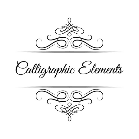 Illustration pour Calligraphic design elements . Decorative swirls or scrolls, vintage frames , flourishes, labels and dividers. Retro vector illustration. Calligraphic elements lettering. - image libre de droit