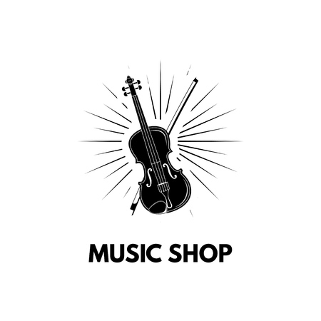 Illustration pour Violin in beams Icon Illustration. Violin with bow. Music shop label. Vector illustration isolated on white background. - image libre de droit
