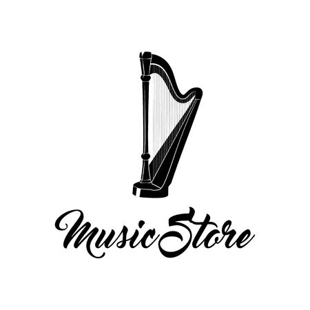 Illustration for Harp musical instrument. Music Store logo label badge. Vector illustration isolated on white background. - Royalty Free Image