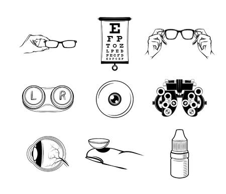 Illustration pour Ophthalmologist icons set - image libre de droit