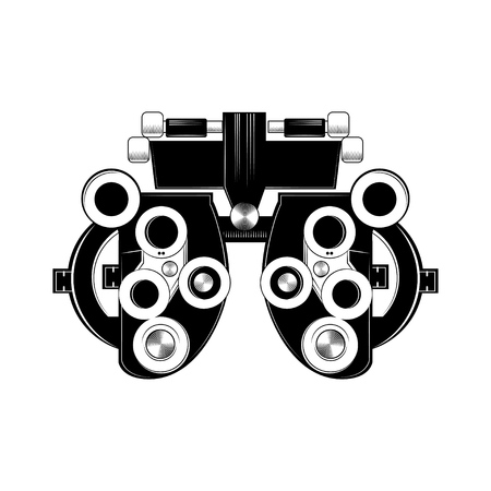 Illustration pour Phoropter glyph icon. Refractor. Ophthalmic testing device. Optical medical device. Vector isolated illustration. - image libre de droit