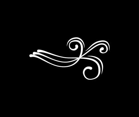 Ilustración de Flourishe swirl scroll. Calligraphic and page decoration design elements. Ornate divider. Vector illustration isolated on black background. - Imagen libre de derechos