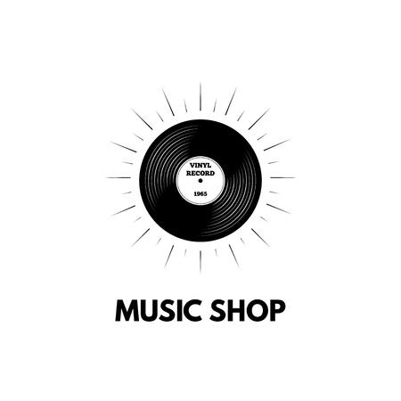 Illustration pour Retro vinyl music logo concept design. - image libre de droit