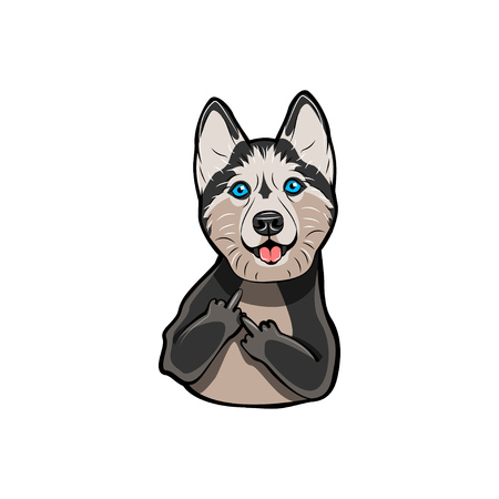 Illustrazione per Siberian Husky with middle finger. Dog breed. Gesture. Vector illustration isolated on white background. - Immagini Royalty Free