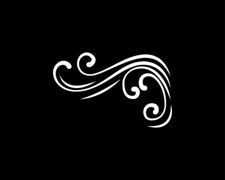 Illustration for Abstract swirly corner with flourish filigree elements isolated on black background. - Royalty Free Image