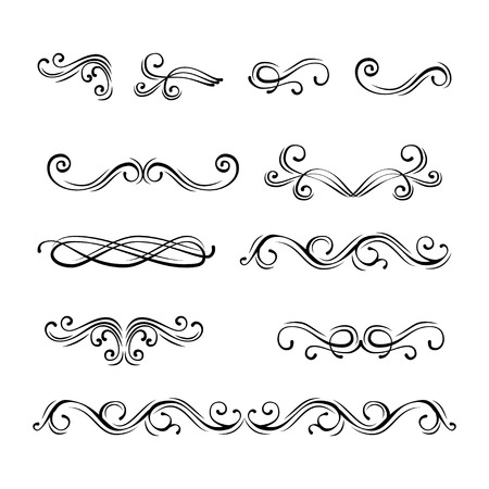Illustration pour Set of ornamental borders and flourish vintage page dividers, royal ornament swirls and classical decoration elements. - image libre de droit