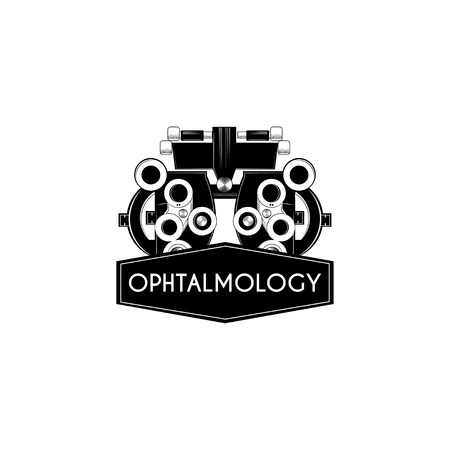 Illustration pour Optical medical device with Ophthalmology in black ribbon vector illustration. - image libre de droit