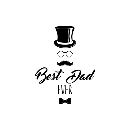 Illustration for Father day. Top hat, bow tie, glasses, mustache. Best dad ever text. Vector Greeting card design - Royalty Free Image