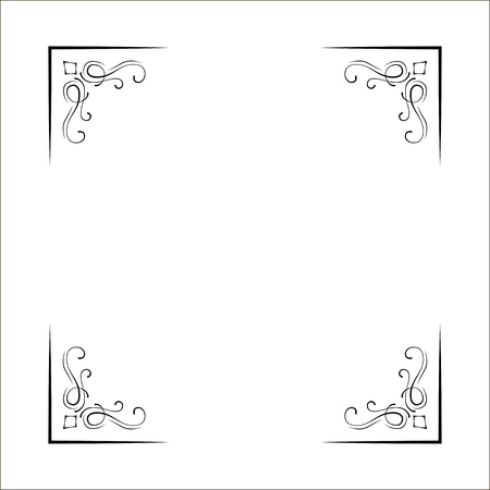 Illustration pour Decorative corners, swirls, ornate frame, Page decoration, Wedding design, Filigree dividers Vector illustration - image libre de droit