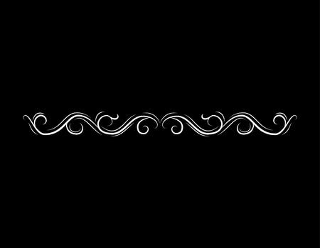 Illustration pour Filigree border, horizontal calligraphic design element. Wave, Filigree ornament. Vector illustration - image libre de droit