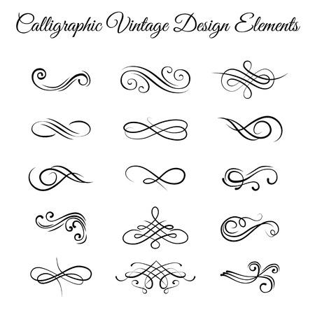 Illustration pour Swirly line curl scroll elements set. Flourish vintage embellishments. - image libre de droit