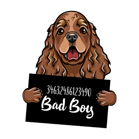 Illustrazione per Mugshot Illustration of dog criminal, with Bad boy lettering. - Immagini Royalty Free
