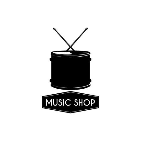 Illustration pour Drum icon. Music shop emblem logo label. Musical instrument. Vector illustration - image libre de droit