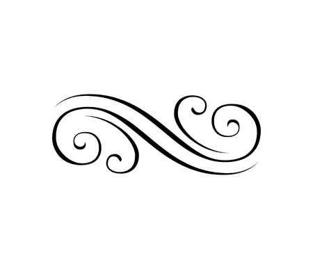 Illustration pour Swirly line, filigree ornamental eleent. Engraving border. Calligraphic design elements, page decoration. Vector illustration - image libre de droit