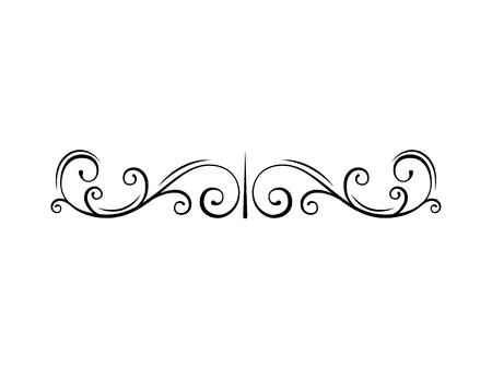 Illustration pour Calligraphic page divider. Swirls, decorative design elements, flourishes, scroll embellishment in vintage style. Vector illustration. - image libre de droit