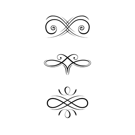 Illustration for Calligraphic Design Elements, Page Decoration set. Swirls, Filigree ornamental design. Book decorations, Wedding invitations, Greeting cards. Vector illustration. - Royalty Free Image