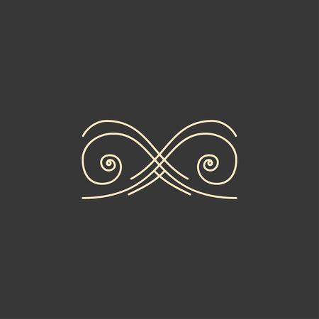 Illustration pour Calligraphic vignette element. Scroll, Filigree design element. Page decoration, Book decor, Wedding invitation, Greeting card, Certificate. Vector illustration. - image libre de droit