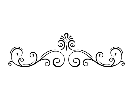 Illustrazione per Ornamental page divider. Swirls, filigree calligraphic borders. Scroll, Curls. Decorative ornate frames. Vector illustration. - Immagini Royalty Free