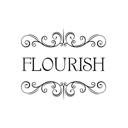 Illustration pour Flourish calligraphic frame. Swirly page decoration. Filigree scroll pattern. Wedding invitation, Greeting card design. Vector illustration. - image libre de droit