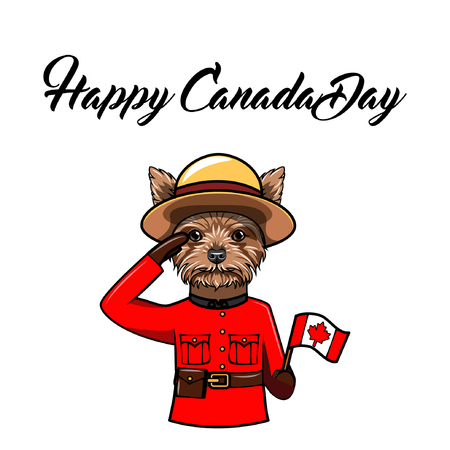 Photo pour Yorkshire terrier. Canada day holiday greeting card. Dog wearing in Royal Canadian Mounted Police form. Dog portrait. National holiday. Vector illustration. - image libre de droit