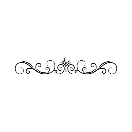 Illustration for Calligraphic border, page decoration. Swirls, filigree scroll. Design element. Vector illustration. - Royalty Free Image
