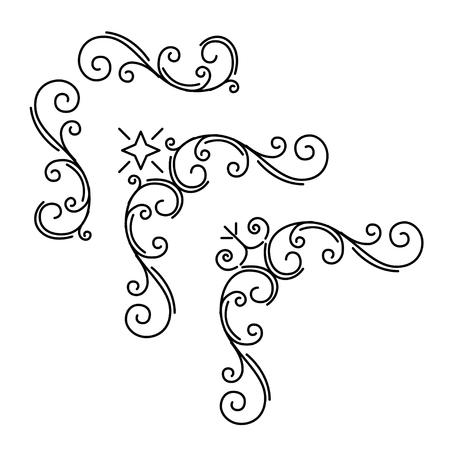Illustration pour Ornamental corners set. Floral page decoration. Calligraphic design elements set. Vintage orante frames. Wedding invitation, Greeting card, Save the date card. Vector illustration. - image libre de droit