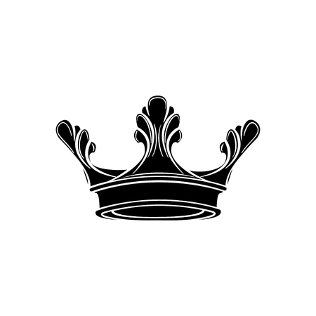 Illustration for Royal crown silhouette. Design element. Vector illustration isolated on white background. - Royalty Free Image