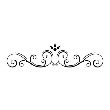 Illustration pour Decorative page divider. Swirls, floral frame. Ornamental border. Callirgaphic flourish scroll design element. Wedding invitation, Greeting card, Save the date card. Vector illustration. - image libre de droit
