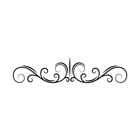 Illustration pour Flourish page divider. Decorative scroll page border. Swirls, curls. Book decor. Filigree ornamental frame. Vector illustration. - image libre de droit