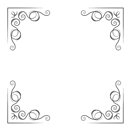 Ilustración de Ornamental decorative corners. Swirly lines, filigree pade border. Scroll calligraphy. Greeting card, Save the date card design. Vector illustration. - Imagen libre de derechos