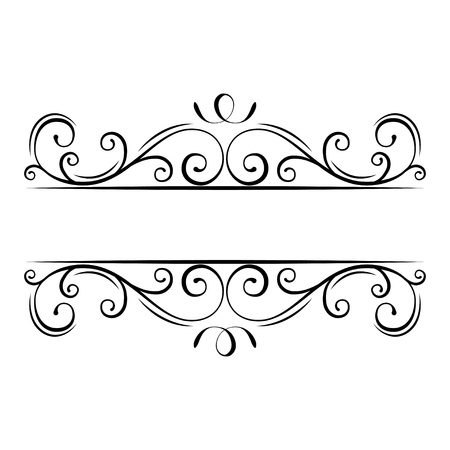 Illustrazione per Calligraphic flourish frame. Decorative ornate border. Swirls, Curls, Scroll filigree design elements. Vector illustration. - Immagini Royalty Free